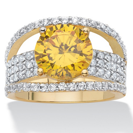 Round Yellow Cubic Zirconia Pave Bridge Ring 5.43 TCW 14k Yellow Gold-Plated at PalmBeach Jewelry