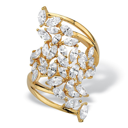 Marquise-Cut Cubic Zirconia Cluster Bypass Ring 4.25 TCW in 14k Gold over Sterling Silver at PalmBeach Jewelry