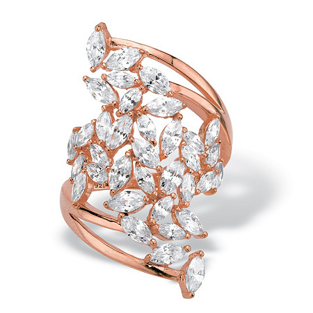 Marquise-Cut Cubic Zirconia Cluster Bypass Ring 4.25 TCW in Rose Gold over Sterling Silver at PalmBeach Jewelry