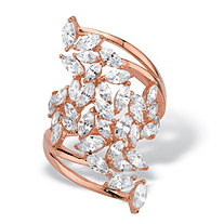 SETA JEWELRY Marquise-Cut Cubic Zirconia Cluster Bypass Ring 4.25 TCW in Rose Gold over Sterling Silver