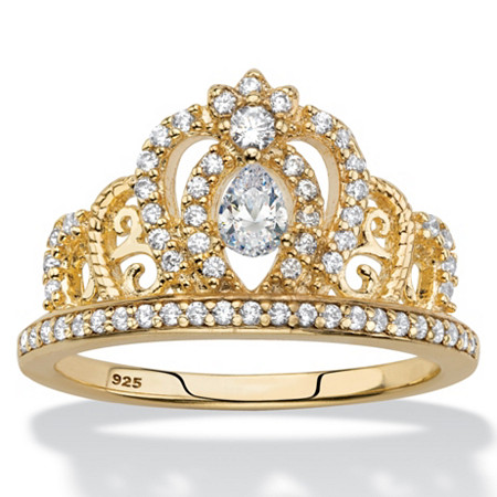 Pear-Cut Cubic Zirconia Crown Ring .61 TCW in 14k Gold over Sterling Silver at PalmBeach Jewelry