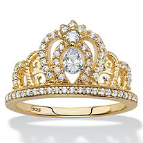 Pear-Cut Cubic Zirconia Crown Ring .61 TCW in 14k Gold over Sterling Silver