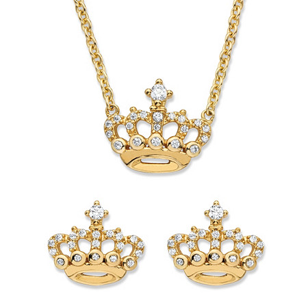 Round Cubic Zirconia 2-Piece Crown Stud Earrings and Necklace Set .48 TCW in 14k Gold over Sterling Silver 18
