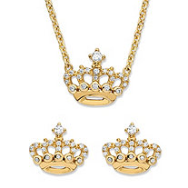 SETA JEWELRY Round Cubic Zirconia 2-Piece Crown Stud Earrings and Necklace Set .48 TCW in 14k Gold over Sterling Silver 18