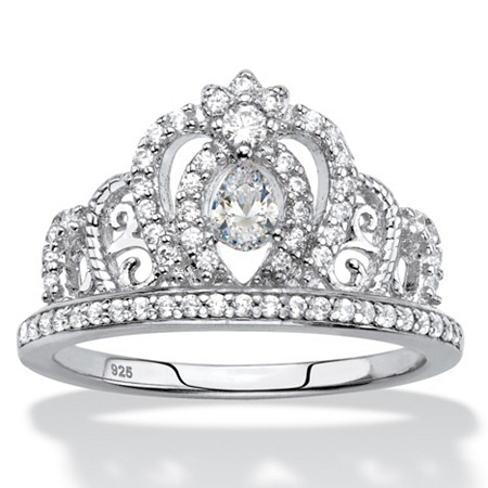 Pear-Cut Cubic Zirconia Crown Ring .61 TCW in Sterling Silver at PalmBeach Jewelry