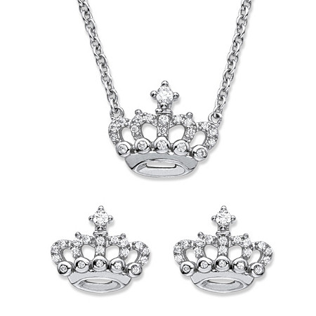 Round Cubic Zirconia 2-Piece Crown Stud Earrings and Necklace Set .48 TCW in Sterling Silver 18