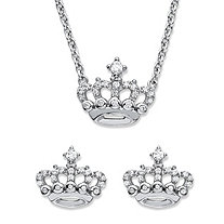 "Round Cubic Zirconia 2-Piece Crown Stud Earrings and Necklace Set .48 TCW in Sterling Silver 18""-20"""