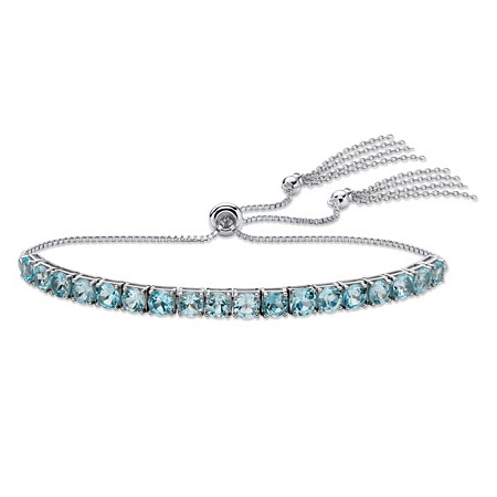 Genuine Blue Topaz Adjustable Slider Bracelet 5.40 TCW in Platinum over Sterling Silver with Fringe Detail at PalmBeach Jewelry