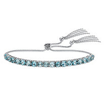 SETA JEWELRY Genuine Blue Topaz Adjustable Slider Bracelet 5.40 TCW in Platinum over Sterling Silver with Fringe Detail
