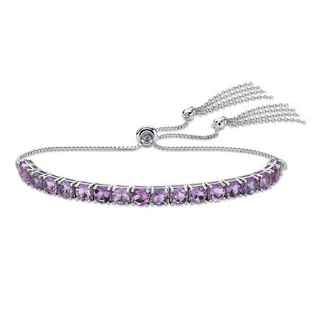 Genuine Purple Amethyst Adjustable Slider Bracelet 3.60 TCW in Platinum over Sterling Silver with Fringe Detail at PalmBeach Jewelry