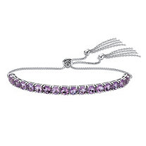 SETA JEWELRY Genuine Purple Amethyst Adjustable Slider Bracelet 3.60 TCW in Platinum over Sterling Silver with Fringe Detail