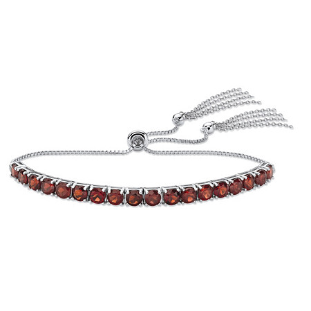 Genuine Burgundy Garnet Adjustable Slider Bracelet 5.40 TCW in Platinum over Sterling Silver with Fringe Detail at PalmBeach Jewelry
