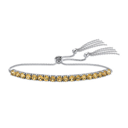 Genuine Yellow Citrine Adjustable Slider Bracelet 3.60 TCW in Platinum over Sterling Silver with Fringe Detail at PalmBeach Jewelry