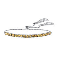 SETA JEWELRY Genuine Yellow Citrine Adjustable Slider Bracelet 3.60 TCW in Platinum over Sterling Silver with Fringe Detail