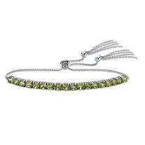 Genuine Green Peridot Adjustable Slider Bracelet 4.68 TCW in Platinum over Sterling Silver with Fringe Detail 10""