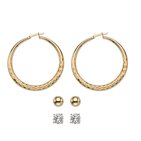 Cubic Zirconia 3-Pair Set of Stud and Textured Hoop Earrings 4 TCW in Gold Tone 2