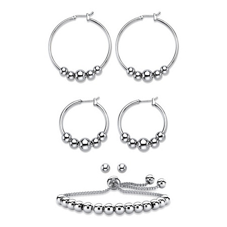 "4-Piece Set of Beaded Hoop Earrings, Ball Studs and Adjustable Slider Bracelet in Silvertone 10"" at PalmBeach Jewelry"