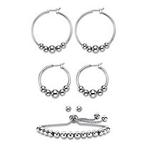 4-Piece Set of Beaded Hoop Earrings, Ball Studs and Adjustable Slider Bracelet in Silvertone 10""