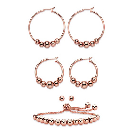 "4-Piece Set of Beaded Hoop Earrings, Ball Studs and Slider Bracelet in Rose Gold Tone 10"" at PalmBeach Jewelry"