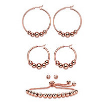 4-Piece Set of Beaded Hoop Earrings, Ball Studs and Slider Bracelet in Rose Gold Tone 10""
