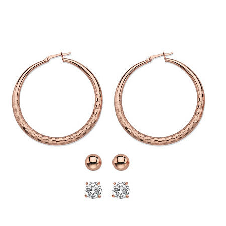 Cubic Zirconia 3-Pair Set of Stud and Textured Hoop Earrings 4 TCW in Rose Gold Tone 2
