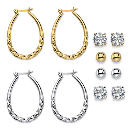 "Cubic Zirconia 6-Pair Set of Stud and Twisted Hoop Earrings 8 TCW in Gold Tone and Silvertone 1"" at PalmBeach Jewelry"