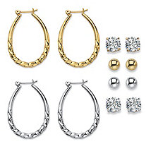 SETA JEWELRY Cubic Zirconia 6-Pair Set of Stud and Twisted Hoop Earrings 8 TCW in Gold Tone and Silvertone 1