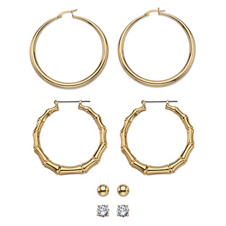 Cubic Zirconia 4-Pair Set of Stud, Ball, Polished and Bamboo Hoop Earrings 8 TCW in Gold Tone 2