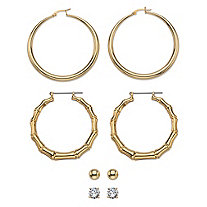 Cubic Zirconia 4-Pair Set of Stud, Ball, Polished and Bamboo Hoop Earrings 8 TCW in Gold Tone 2""