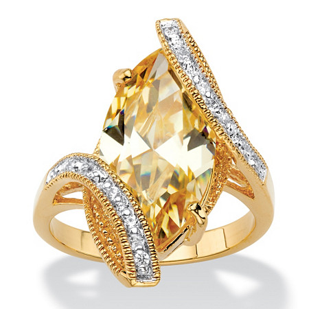 Marquise-Cut Canary Yellow Cubic Zirconia Bypass Cocktail Ring 8.06 TCW 18k Gold-Plated at PalmBeach Jewelry
