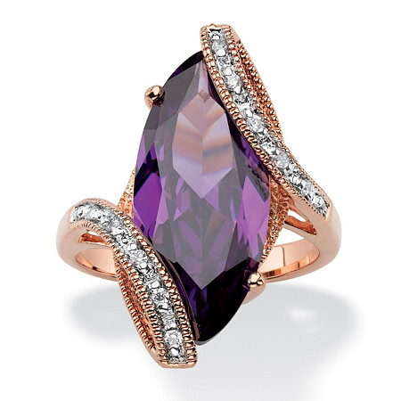Marquise-Cut Amethyst Purple Cubic Zirconia Bypass Cocktail Ring 8.06 TCW 18k Rose Gold-Plated at PalmBeach Jewelry