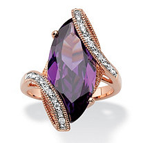 Marquise-Cut Amethyst Purple Cubic Zirconia Bypass Cocktail Ring 8.06 TCW 18k Rose Gold-Plated