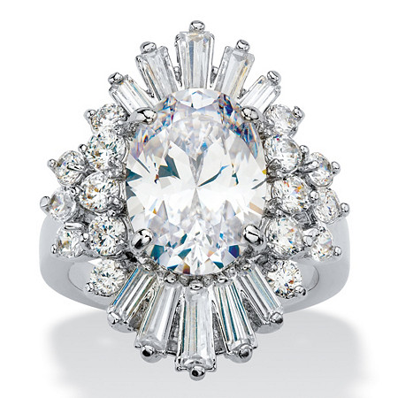 Oval and Baguette-Cut Cubic Zirconia Starburst Cocktail Ring 9.61 TCW Platinum-Plated at PalmBeach Jewelry