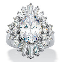 Oval and Baguette-Cut Cubic Zirconia Starburst Cocktail Ring 9.61 TCW Platinum-Plated