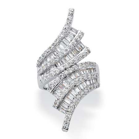 Baguette-Cut and Round Cubic Zirconia Bypass Cocktail Ring 5.14 TCW in Silvertone at PalmBeach Jewelry