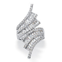 Baguette-Cut and Round Cubic Zirconia Bypass Cocktail Ring 5.14 TCW in Silvertone