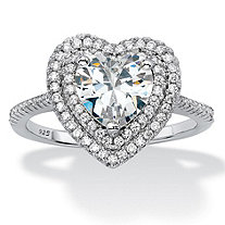 Heart Shaped Cubic Zirconia Halo Engagement Ring 1.48 TCW in Platinum over Sterling Silver