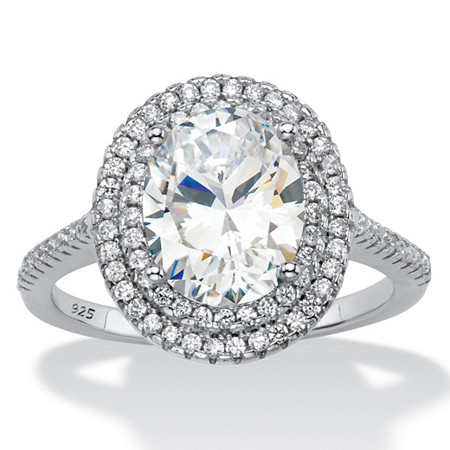 Oval-Cut Cubic Zirconia Double Halo Engagement Ring 2.27 TCW in Platinum over Sterling Silver at PalmBeach Jewelry