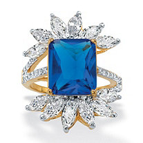 Emerald-Cut Blue Crystal and Cubic Zirconia Starburst Ring 3.20 TCW 14k Gold-Plated