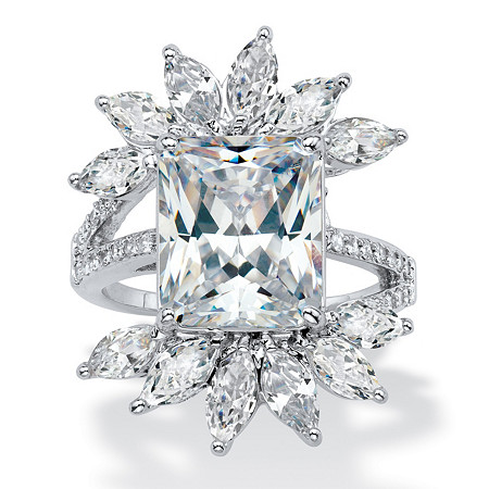 Emerald-Cut and Marquise Cubic Zirconia Starburst Cocktail Ring 10.20 TCW in Silvertone at PalmBeach Jewelry
