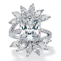 Emerald-Cut and Marquise Cubic Zirconia Starburst Cocktail Ring 10.20 TCW in Silvertone