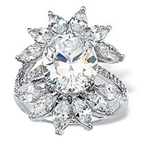 Oval-Cut and Marquise Cubic Zirconia Starburst Cocktail Ring 8.25 TCW in Silvertone