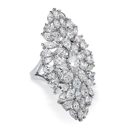 Marquise-Cut Cubic Zirconia Cluster Cocktail Ring 11.50 TCW Platinum-Plated at PalmBeach Jewelry