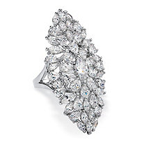 Marquise-Cut Cubic Zirconia Cluster Cocktail Ring 11.50 TCW Platinum-Plated