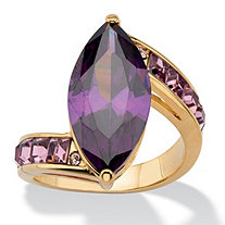 Marquise-Cut Purple Cubic Zirconia and Crystal Cocktail Ring 7.94 TCW 14k Gold-Plated