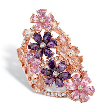 Pink and Purple Cubic Zirconia and Crystal Flower Cluster Ring 6.89 TCW in Rose Gold Tone at PalmBeach Jewelry