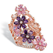 Pink and Purple Cubic Zirconia and Crystal Flower Cluster Ring 6.89 TCW in Rose Gold Tone