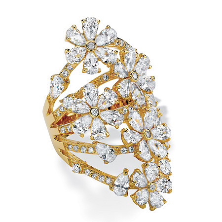Pear-Cut Cubic Zirconia Flower Cocktail Ring 8.89 TCW 14k Gold-Plated at PalmBeach Jewelry