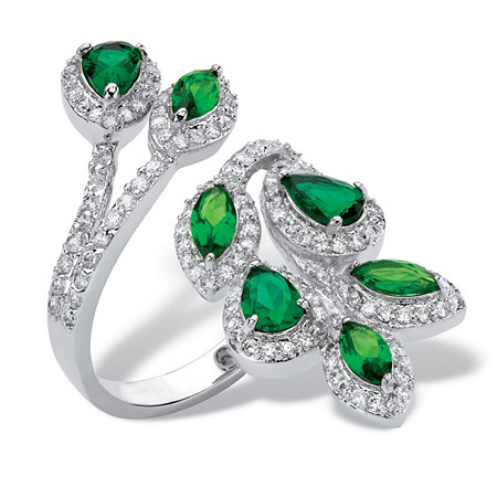 Marquise and Pear-Cut Green Crystal and Cubic Zirconia Halo Bypass Leaf Ring 1.05 TCW Platinum-Plated at PalmBeach Jewelry