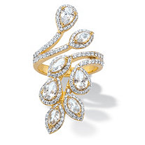 Marquise and Pear-Cut Cubic Zirconia Halo Leaf Bypass Ring 3.23 TCW 14k Gold-Plated